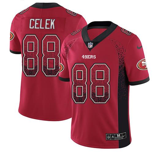 Men's Garrett Celek Red Limited Football Jersey: San Francisco 49ers #88 Rush Drift Fashion  Jersey