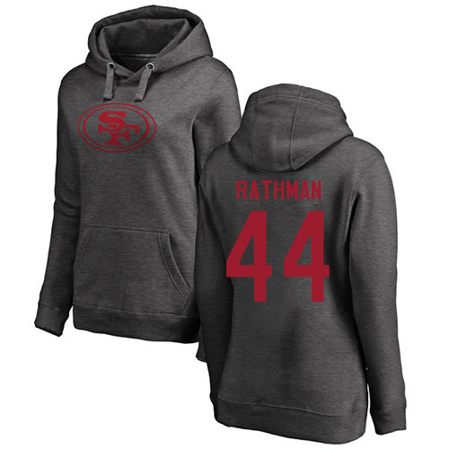Women's Tom Rathman Ash One Color Football : San Francisco 49ers #44 Pullover Hoodie