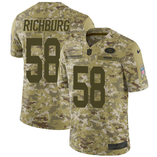 Youth Weston Richburg Camo Limited Football Jersey: San Francisco 49ers #58 2018 Salute to Service  Jersey
