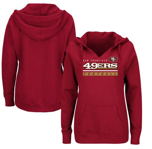 Football San Francisco 49ers  Women's Self-Determination Pullover Hoodie - Scarlet