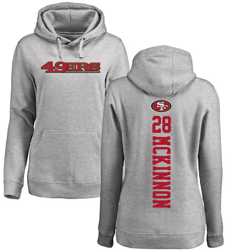 Women's Jerick McKinnon Ash Backer Football : San Francisco 49ers #28 Pullover Hoodie
