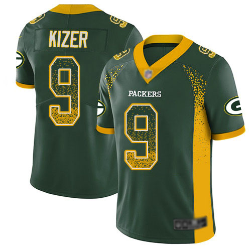 Men's DeShone Kizer Green Limited Football Jersey: Green Bay Packers #9 Rush Drift Fashion  Jersey