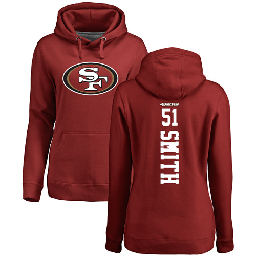 Women's Malcolm Smith Red Backer Football : San Francisco 49ers #51 Pullover Hoodie