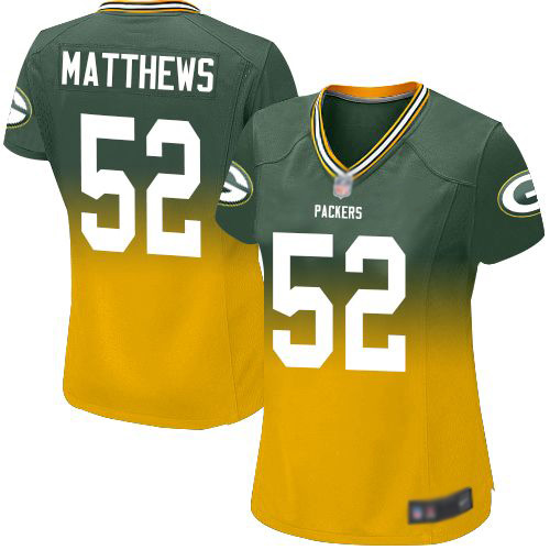 Women's Clay Matthews Green/Gold Elite Football Jersey: Green Bay Packers #52 Fadeaway  Jersey