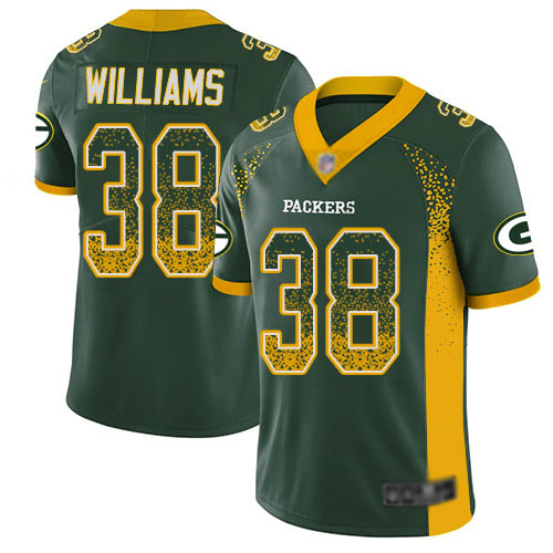 Men's Tramon Williams Green Limited Football Jersey: Green Bay Packers #38 Rush Drift Fashion  Jersey
