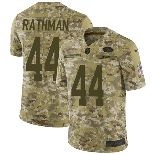 Youth Tom Rathman Camo Limited Football Jersey: San Francisco 49ers #44 2018 Salute to Service  Jersey