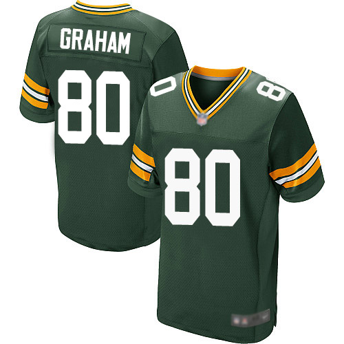Men's Jimmy Graham Green Home Elite Football Jersey: Green Bay Packers #80  Jersey