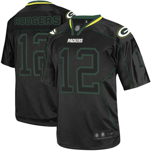 Men's Aaron Rodgers Lights Out Black Elite Football Jersey: Green Bay Packers #12  Jersey