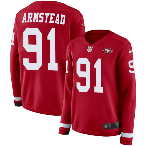 Women's Arik Armstead Red Limited Football Jersey: San Francisco 49ers #91 Therma Long Sleeve  Jersey
