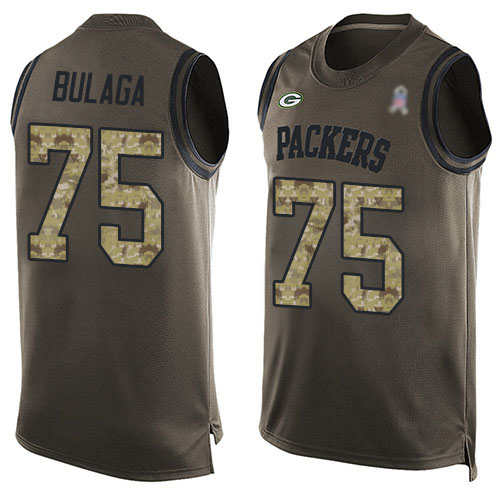 Men's Bryan Bulaga Green Limited Football Jersey: Green Bay Packers #75 Salute to Service Tank Top  Jersey