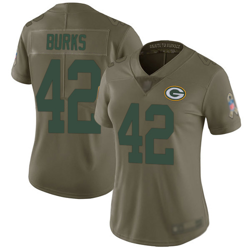 Women's Oren Burks Olive Limited Football Jersey: Green Bay Packers #42 2017 Salute to Service  Jersey