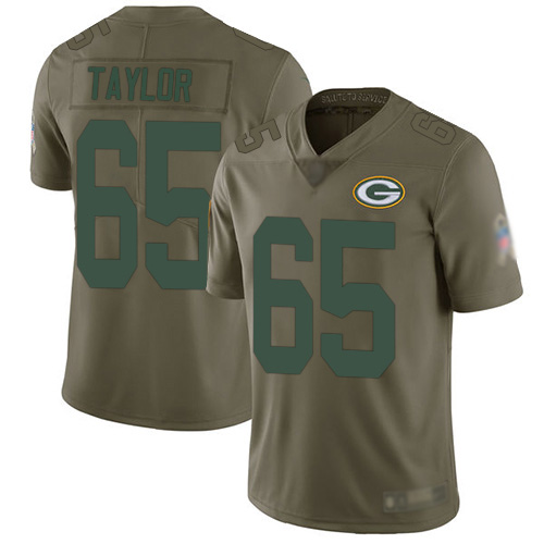Men's Lane Taylor Olive Limited Football Jersey: Green Bay Packers #65 2017 Salute to Service  Jersey
