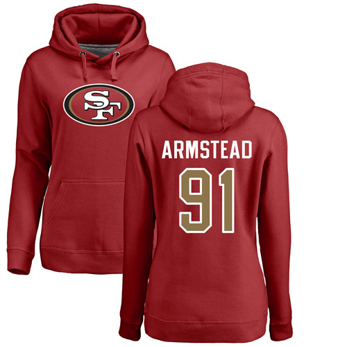 Women's Arik Armstead Red Name & Number Logo Football : San Francisco 49ers #91 Pullover Hoodie