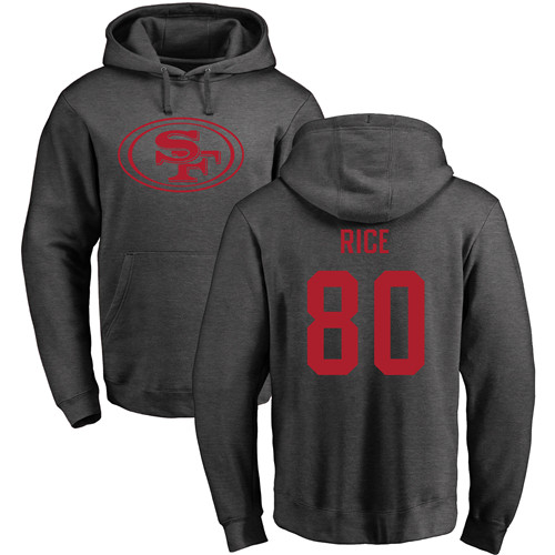 Jerry Rice Ash One Color Football : San Francisco 49ers #80 Pullover Hoodie