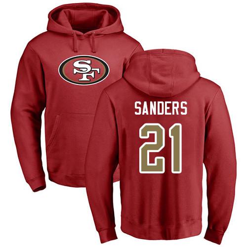 Deion Sanders Red Name & Number Logo Football : San Francisco 49ers #21 Pullover Hoodie