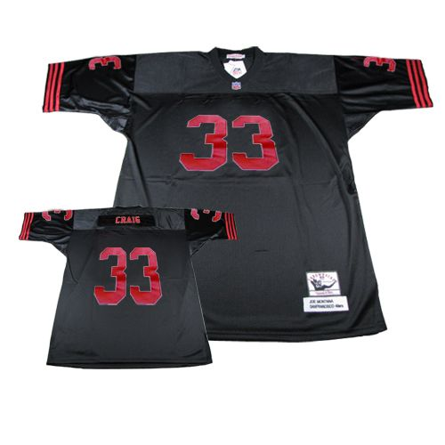 Men's Roger Craig Black Authentic Football Jersey: San Francisco 49ers #33 Throwback Mitchell and Ness Jersey
