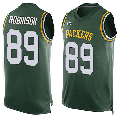 Men's Dave Robinson Green Limited Football Jersey: Green Bay Packers #89 Player Name & Number Tank Top  Jersey