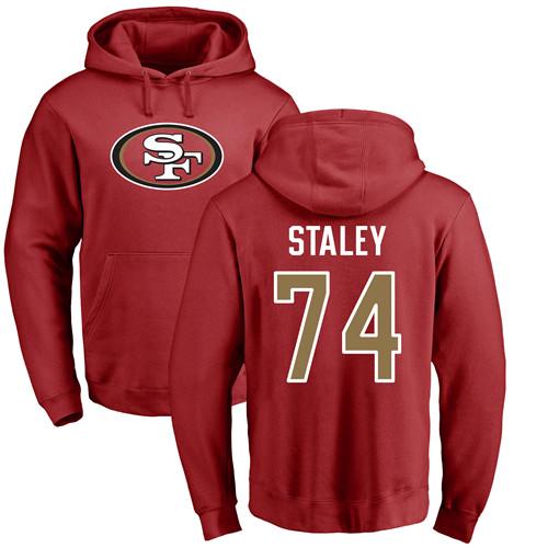 Joe Staley Red Name & Number Logo Football : San Francisco 49ers #74 Pullover Hoodie