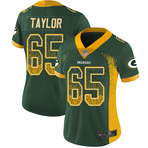 Women's Lane Taylor Green Limited Football Jersey: Green Bay Packers #65 Rush Drift Fashion  Jersey