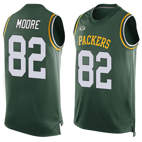 Men's J'Mon Moore Green Limited Football Jersey: Green Bay Packers #82 Player Name & Number Tank Top  Jersey