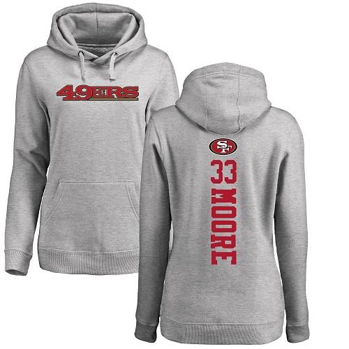 Women's Tarvarius Moore Ash Backer Football : San Francisco 49ers #33 Pullover Hoodie