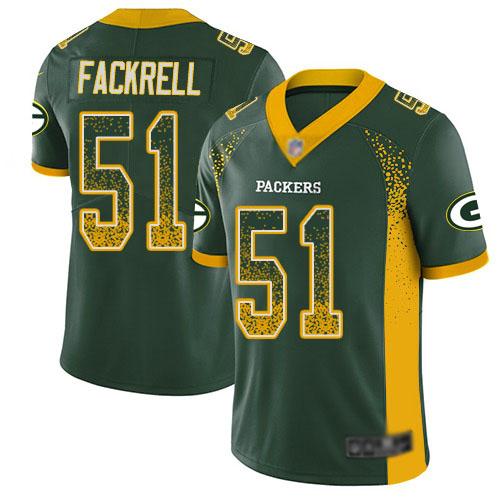 Youth Kyler Fackrell Green Limited Football Jersey: Green Bay Packers #51 Rush Drift Fashion  Jersey