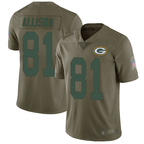 Youth Geronimo Allison Olive Limited Football Jersey: Green Bay Packers #81 2017 Salute to Service  Jersey