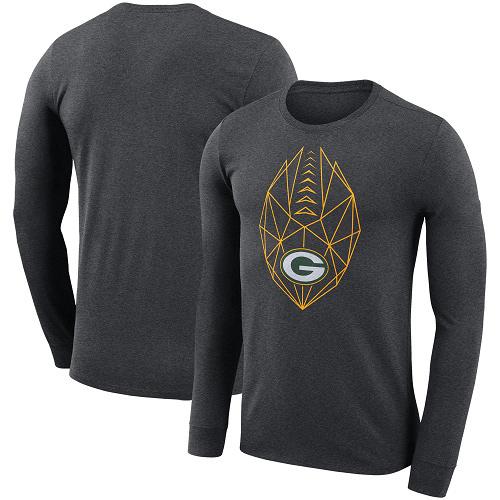 Football Men's  Green Bay Packers Charcoal Fan Gear Icon Performance Long Sleeve T-Shirt