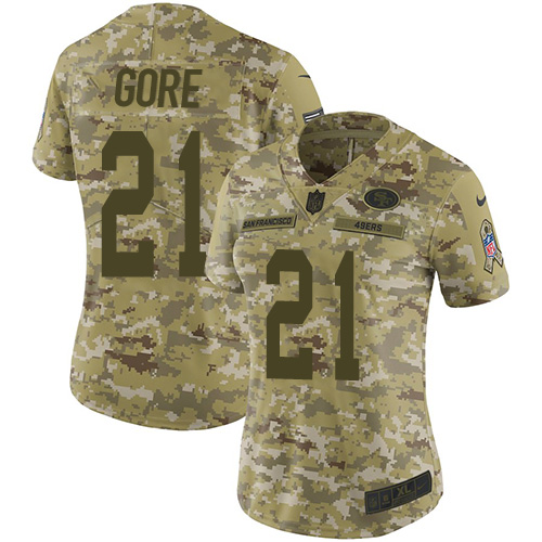 Women's Frank Gore Camo Limited Football Jersey: San Francisco 49ers #21 2018 Salute to Service  Jersey