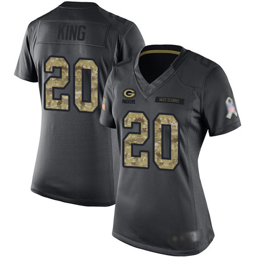 Women's Kevin King Black Limited Football Jersey: Green Bay Packers #20 2016 Salute to Service  Jersey