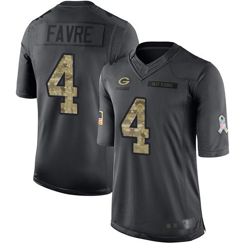 Men's Brett Favre Black Limited Football Jersey: Green Bay Packers #4 2016 Salute to Service  Jersey