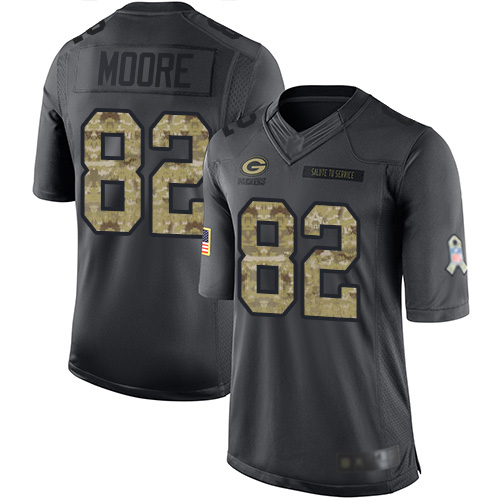 Youth J'Mon Moore Black Limited Football Jersey: Green Bay Packers #82 2016 Salute to Service  Jersey