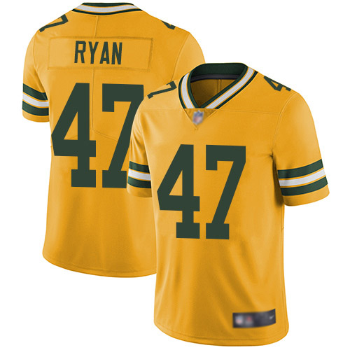 Men's Jake Ryan Gold Elite Football Jersey: Green Bay Packers #47 Rush Vapor Untouchable  Jersey