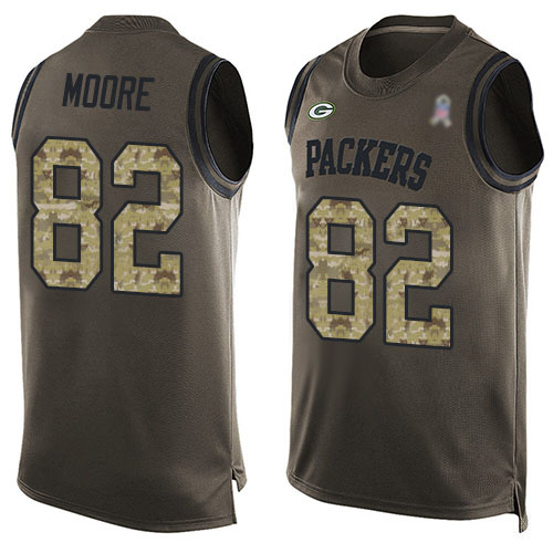 Men's J'Mon Moore Green Limited Football Jersey: Green Bay Packers #82 Salute to Service Tank Top  Jersey
