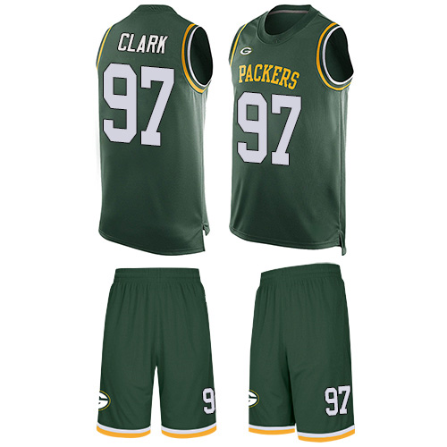 Men's Kenny Clark Green Limited Football Jersey: Green Bay Packers #97 Tank Top Suit  Jersey