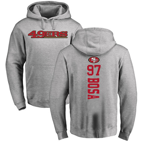 Nick Bosa Ash Backer Football : San Francisco 49ers #97 Pullover Hoodie