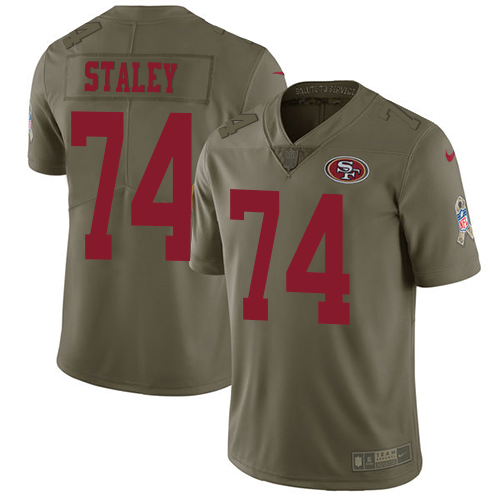 Youth Joe Staley Olive Limited Football Jersey: San Francisco 49ers #74 2017 Salute to Service  Jersey