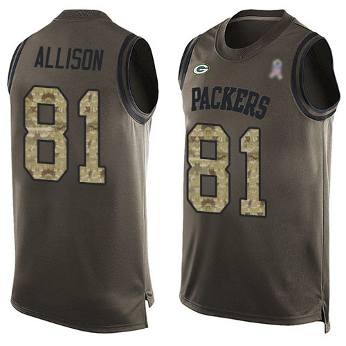 Men's Geronimo Allison Green Limited Football Jersey: Green Bay Packers #81 Salute to Service Tank Top  Jersey