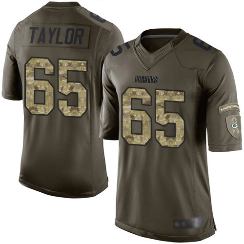 Men's Lane Taylor Green Elite Football Jersey: Green Bay Packers #65 Salute to Service  Jersey