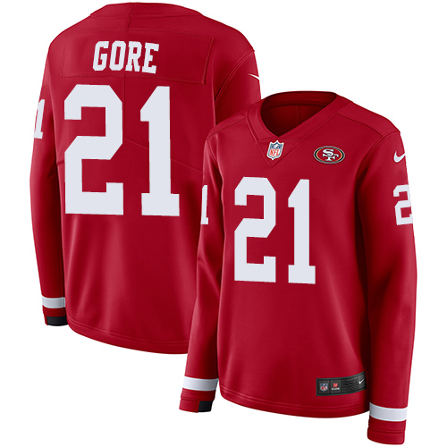 Women's Frank Gore Red Limited Football Jersey: San Francisco 49ers #21 Therma Long Sleeve  Jersey