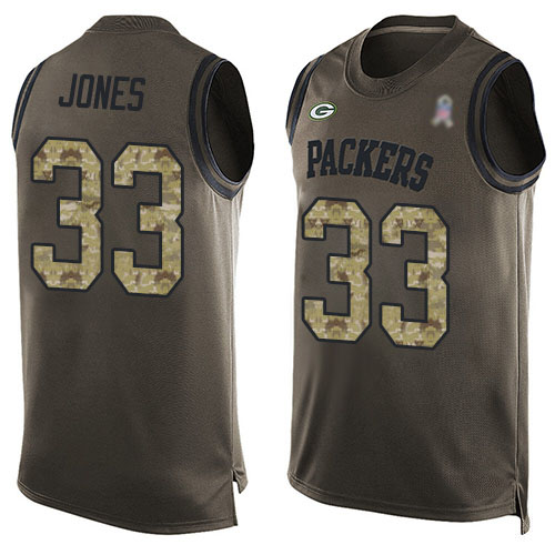 Men's Aaron Jones Green Limited Football Jersey: Green Bay Packers #33 Salute to Service Tank Top  Jersey