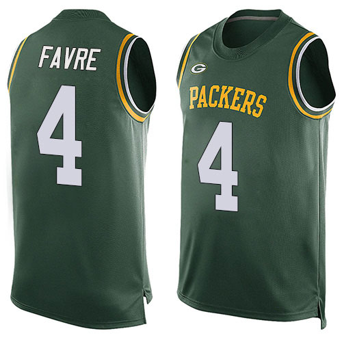 Men's Brett Favre Green Limited Football Jersey: Green Bay Packers #4 Player Name & Number Tank Top  Jersey