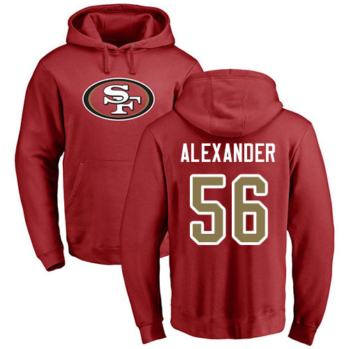 Kwon Alexander Red Name & Number Logo Football : San Francisco 49ers #56 Pullover Hoodie