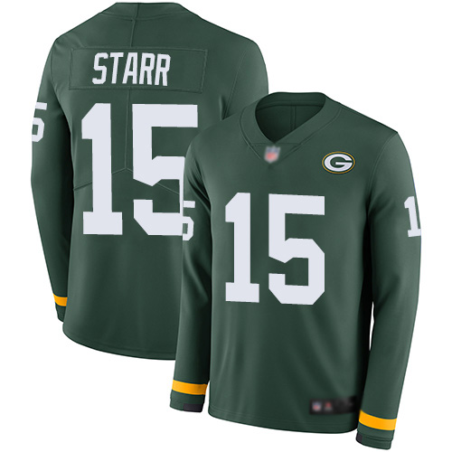 Men's Bart Starr Green Limited Football Jersey: Green Bay Packers #15 Therma Long Sleeve  Jersey