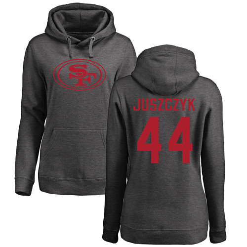 Women's Kyle Juszczyk Ash One Color Football : San Francisco 49ers #44 Pullover Hoodie