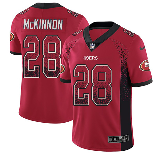 Men's Jerick McKinnon Red Limited Football Jersey: San Francisco 49ers #28 Rush Drift Fashion  Jersey