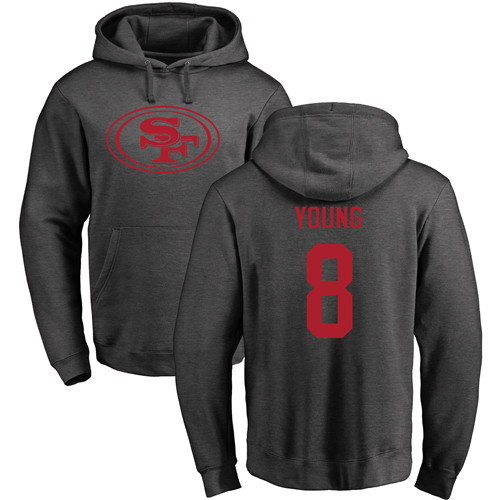 Steve Young Ash One Color Football : San Francisco 49ers #8 Pullover Hoodie