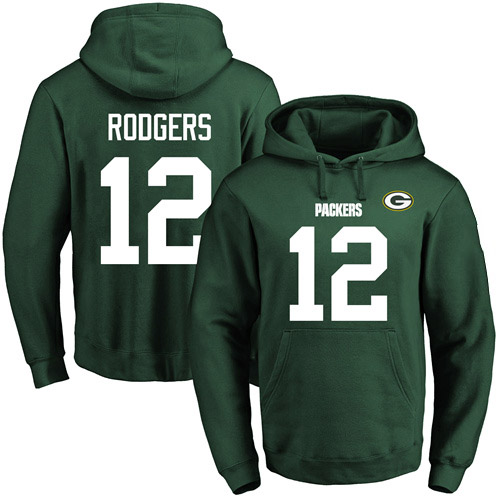 Football Men's  Green Bay Packers #12 Aaron Rodgers Green Name & Number Pullover Hoodie
