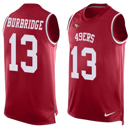 Men's Aaron Burbridge Red Limited Football Jersey: San Francisco 49ers #13 Player Name & Number Tank Top  Jersey