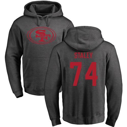 Joe Staley Ash One Color Football : San Francisco 49ers #74 Pullover Hoodie